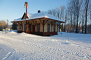 Ashland Train Depot along the old the Boston and Maine Railroad in Ashland, New Hampshire USA during the winter months.
