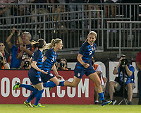 East Hartford, Connecticut - Sunday July 29, 2018:  2018 Tournament of Nations match between the women's national teams of Australia (AUS) (yellow) and United States (USA) (blue). United States Women's team (uSWNT) tied Australia, 1-1, at Pratt & Whitney Stadium at Rentschler Field.<br />