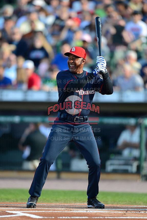 Hall of Fame shortstop Ozzie Smith #1 at bat during the MLB Pepsi Max Field of Dreams game on May 18, 2013 at Frontier Field in Rochester, New York.  (Mike Janes/Four Seam Images)