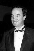 Pierre Nadeau<br />  a la soiree des ambassadeurs au Palais des congrès de Montréal, le 18 septembre 1985.<br /> <br /> PHOTO : Pierre Roussel -  Agence Quebec Presse