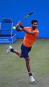 June 12th 2017,  Nottingham, England; WTA Aegon Nottingham Open Tennis Tournament day 3; Yuki Bhambri of India hits a forehand in his match against  18 yr old Jay Clarke of Great Britain