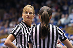 17 December 2013: Referees Dee Kantner (left) and Maj Forsberg (right). The Duke University Blue Devils played the University of Connecticut Huskies at Cameron Indoor Stadium in Durham, North Carolina in a 2013-14 NCAA Division I Women's Basketball game. UConn won the game 83-61.