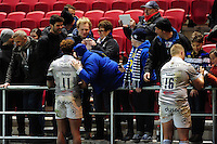 Bath Rugby players mingle with the crowd after the match. European Rugby Challenge Cup match, between Bristol Rugby and Bath Rugby on January 13, 2017 at Ashton Gate Stadium in Bristol, England. Photo by: Patrick Khachfe / Onside Images