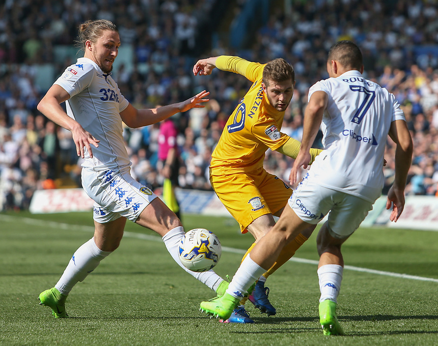 Preston North End's Tom Barkhuizen battles with Leeds United's Luke Ayling and Kemar Roofe<br /> <br /> Photographer Alex Dodd/CameraSport<br /> <br /> The EFL Sky Bet Championship - Leeds United v Preston North End - Saturday 8th April 2017 - Elland Road - Leeds<br /> <br /> World Copyright &copy; 2017 CameraSport. All rights reserved. 43 Linden Ave. Countesthorpe. Leicester. England. LE8 5PG - Tel: +44 (0) 116 277 4147 - admin@camerasport.com - www.camerasport.com