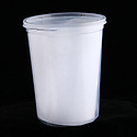 Tall clear plastic container with lid for takeout soup and liquid foods
