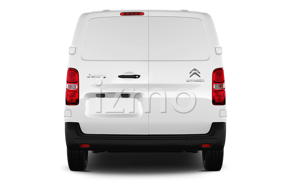 Straight rear view of 2017 Citroen Jumpy Business 5 Door Cargo Van Rear View  stock images