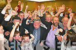 1888-1951.Jackie Healy-Rae celebrates with his family and supporters as he is elected on the sixth count at the South Kerry count in The Malton Hotel, Killarney, last Friday night...