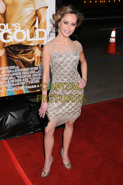 "ALEXIS DZIENA.""Fool's Gold"" Los Angeles Premiere at Grauman's Chinese Theatre, Hollywood, California, USA..January 30th, 2008.full length silver dress gold sparkly sheer hand on hip clutch bag purse .CAP/ADM/BP.©Byron Purvis/AdMedia/Capital Pictures."