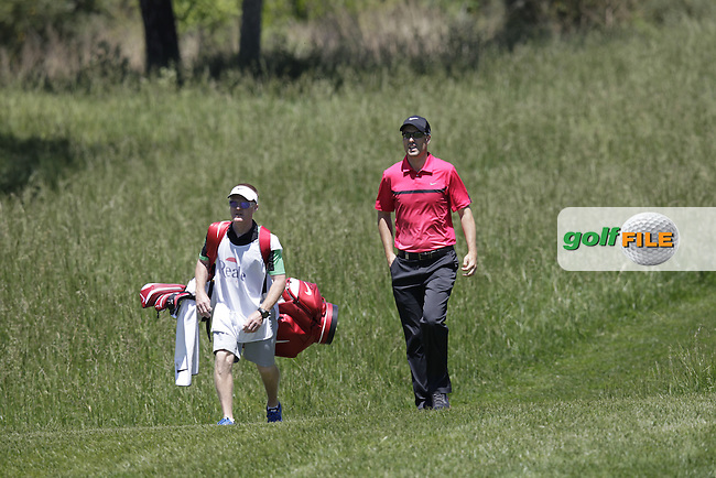 Ross Fisher ((ENG) and caddy Mark Sherwood on the 8th hole during Wednesday's Pro-Am of the 2014 Open de Espana held at the PGA Catalunya Resort, Girona, Spain. Wednesday 14th May 2014.<br /> Picture: Eoin Clarke www.golffile.ie