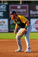 Beloit Snappers first baseman Hunter Hargrove (26) during a Midwest League game against the Wisconsin Timber Rattlers on May 17, 2018 at Fox Cities Stadium in Appleton, Wisconsin. Beloit defeated Wisconsin 8-7. (Brad Krause/Four Seam Images)