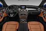 Stock photo of straight dashboard view of 2017 Mercedes Benz C-Class C300 2 Door Coupe Dashboard