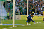 Sotres is unable to stop the penalty during the match between Real Betis and Recreativo de Huelva day 10 of the spanish Adelante League 2014-2015 014-2015 played at the Benito Villamarin stadium of Seville. (PHOTO: CARLOS BOUZA / BOUZA PRESS / ALTER PHOTOS)