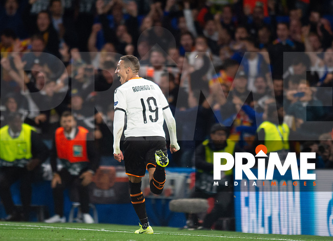 Valencia Rodrigo Moreno celebrating his goal during the UEFA Champions League match between Chelsea and Valencia  at Stamford Bridge, London, England on 17 September 2019. Photo by Andrew Aleksiejczuk / PRiME Media Images.