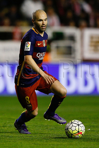 03.03.2016. Madrid, Spain.  Andres Iniesta Lujan (8) FC Barcelona. La Liga match between Rayo Vallecano and FC Barcelona at the Vallecas stadium in Madrid, Spain