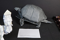 OrigamiUSA Convention 2015 Exhibition. Galapagos Tortoise, Opus 683 designed and folded by Robert Lang, CA.
