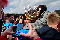Lincoln City's assistant manager Nicky Cowley is hugged by fans at the end of the game<br /> <br /> Photographer Chris Vaughan/CameraSport<br /> <br /> Vanarama National League - Lincoln City v Macclesfield Town - Saturday 22nd April 2017 - Sincil Bank - Lincoln<br /> <br /> World Copyright &copy; 2017 CameraSport. All rights reserved. 43 Linden Ave. Countesthorpe. Leicester. England. LE8 5PG - Tel: +44 (0) 116 277 4147 - admin@camerasport.com - www.camerasport.com