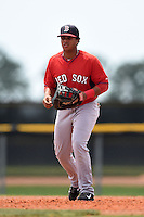 Boston Red Sox minor league first baseman Aneudis Peralta (15) during an extended spring training game against the Tampa Bay Rays on April 16, 2014 at Charlotte Sports Park in Port Charlotte, Florida.  (Mike Janes/Four Seam Images)