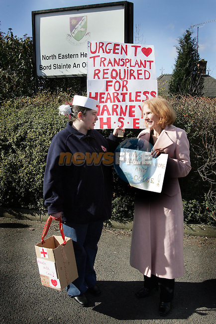 Mother of two autistic Anne Ballfe from Rathdowney Co. Laois with Cathy Synott at the Protest outside the HSE Offices in Kells yesterday.Photo NEWSFILE/FRAN CAFFREY..(Photo credit should read FRAN CAFFREY/NEWSFILE)...This Picture has been sent you under the condtions enclosed by:.Newsfile Ltd..the Studio,.Millmount Abbey,.Drogheda,.Co Meath..Ireland..Tel: +353(0)41-9871240.Fax: +353(0)41-9871260.GSM: +353(0)86-2500958.email: pictures@newsfile.ie.www.newsfile.ie.FTP: 193.120.102.198..This picture is from Fran Caffrey@newsfile.ie