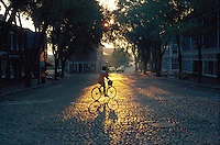 bicycle at sunrise, Main Street, Nantucket, MA