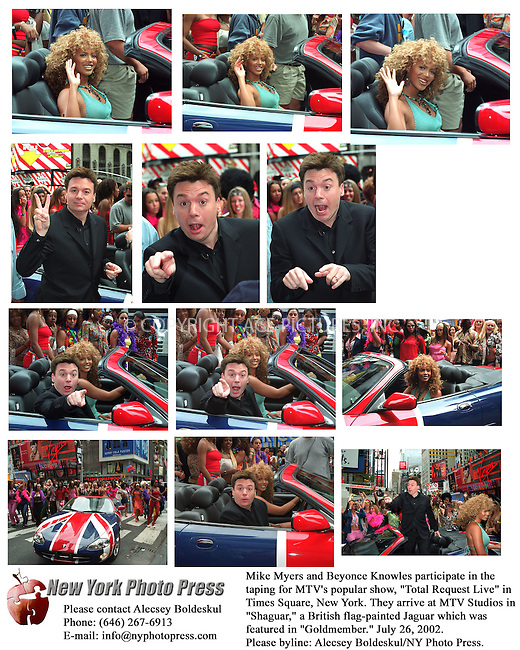 """Mike Myers and Beyonce Knowles participate in the taping for MTV's popular show, """"Total Request Live"""" in Times Square, New York. They arrive at MTV Studios in """"Shaguar,"""" a British flag-painted Jaguar which was featured in """"Goldmember."""" July 26, 2002. Please byline: Alecsey Boldeskul/NY Photo Press.   .*PAY-PER-USE*      ..NY Photo Press:  .phone (646) 267-6913;   .e-mail: info@nyphotopress.com"""