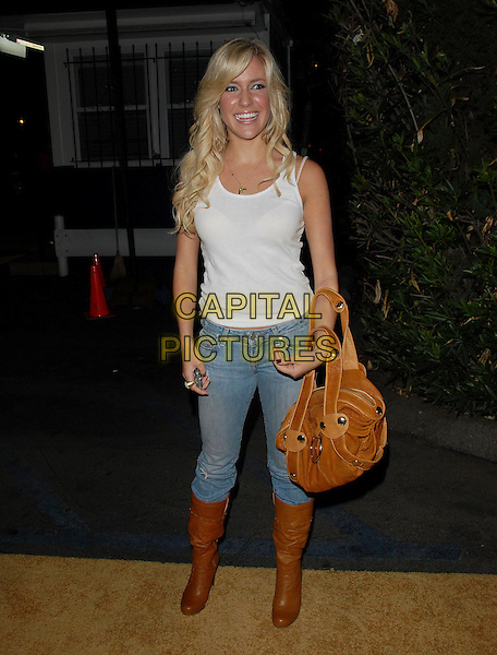 "KRISTEN CAVALLERI.attends Mark Burnett & AOL's Launch of ""Gold Rush"" interactive reality competition held at Les Deux in Hollywood, California, USA, September 12th 2006..full length brown bag white vest boots.Ref: DVS.www.capitalpictures.com.sales@capitalpictures.com.©Debbie VanStory/Capital Pictures"
