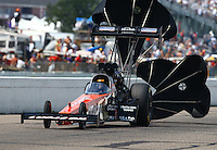 Aug 16, 2014; Brainerd, MN, USA; NHRA top fuel dragster driver Chris Karamesines during qualifying for the Lucas Oil Nationals at Brainerd International Raceway. Mandatory Credit: Mark J. Rebilas-
