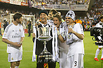 Real Madrid´s Cristiano Ronaldo, Coentrao and Pepe celebration after winning the Spanish Copa del Rey `King´s Cup´ final soccer match between Real Madrid and F.C. Barcelona at Mestalla stadium, in Valencia, Spain. April 16, 2014. (ALTERPHOTOS/Victor Blanco)