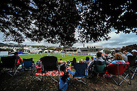 The view from the embankment during day one of the 2nd cricket test match between the New Zealand Black Caps and Sri Lanka at the Hawkins Basin Reserve, Wellington, New Zealand on Saturday, 3 February 2015. Photo: Dave Lintott / lintottphoto.co.nz