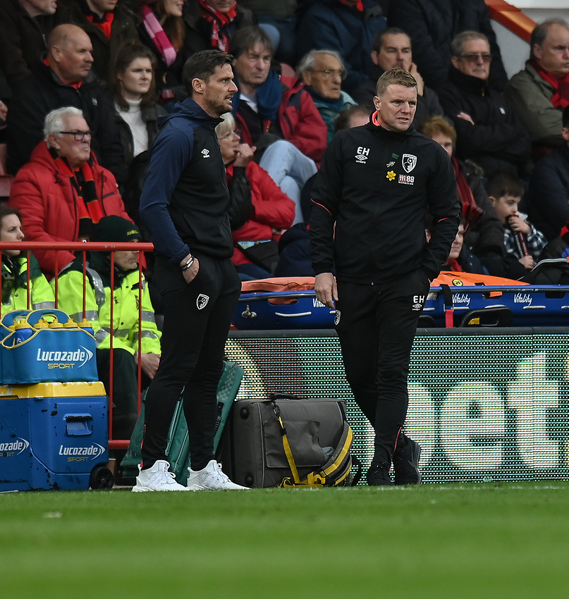 Bournemouth manager Eddie Howe (right) and assistant manager Jason Tindall (left) <br /> <br /> Photographer David Horton/CameraSport<br /> <br /> The Premier League - Bournemouth v Newcastle United - Saturday 16th March 2019 - Vitality Stadium - Bournemouth<br /> <br /> World Copyright © 2019 CameraSport. All rights reserved. 43 Linden Ave. Countesthorpe. Leicester. England. LE8 5PG - Tel: +44 (0) 116 277 4147 - admin@camerasport.com - www.camerasport.com