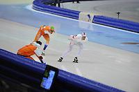 SCHAATSEN: HEERENVEEN: Thialf, KPN NK Allround, 04-02-2012, 5000m Heren, Maurice Vriend, Renz Rotteveel, ©foto: Martin de Jong
