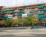 Modern apartment housing in inner city Lavapies barrio, Madrid city centre, Spain