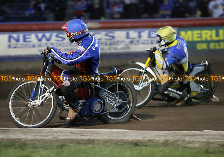 Heat 10 - Bager (blue), Suchecki - Lakeside Hammers vs Ipswich Witches - Sky Sports Elite League B Speedway at Arena Essex - 25/05/07 - MANDATORY CREDIT: Gavin Ellis/TGSPHOTO - SELF-BILLING APPLIES WHERE APPROPRIATE. NO UNPAID USE -  Tel: 0845 0946026