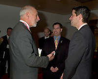 March 19 2003, Montreal, Quebec, Canada<br /> <br />  Andre Boisclair, Quebec's Environment Minister (R) talk with<br /> David Anderson ,Canada's  Environment Minister, (L)  before  the  opening plenary session of Americana ;  a 3 days conference and  trade show on environment and waste management organized by Reseau Environnement, March 19, 2003 in Montreal, Canada.<br /> <br /> Mandatory Credit: Photo by Pierre Roussel- Images Distribution. (&copy;) Copyright 2003 by Pierre Roussel <br /> <br /> NOTE : <br />  Nikon D-1 jpeg opened with Qimage icc profile, saved in Adobe 1998 RGB<br /> .Uncompressed  Original  size  file availble on request.