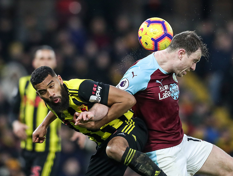 Burnley's Ashley Barnes competing with Watford's Adrian Mariappa<br /> <br /> Photographer Andrew Kearns/CameraSport<br /> <br /> The Premier League - Watford v Burnley - Saturday 19 January 2019 - Vicarage Road - Watford<br /> <br /> World Copyright &copy; 2019 CameraSport. All rights reserved. 43 Linden Ave. Countesthorpe. Leicester. England. LE8 5PG - Tel: +44 (0) 116 277 4147 - admin@camerasport.com - www.camerasport.com