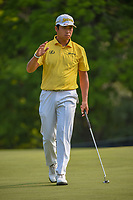 Hideki Matsuyama (JPN) after sinking his putt on 5 during 4th round of the 100th PGA Championship at Bellerive Country Club, St. Louis, Missouri. 8/12/2018.<br /> Picture: Golffile   Ken Murray<br /> <br /> All photo usage must carry mandatory copyright credit (© Golffile   Ken Murray)