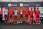 Team Katusha Alpecin at sign on before the start of the world's oldest classic the 100th edition of Milano-Torino running 179km from Magenta to the Basilica at Superga in Turin, Italy. 9th Octobre 2019. <br /> Picture: LaPresse | Cyclefile<br /> <br /> All photos usage must carry mandatory copyright credit (© Cyclefile | LaPresse)