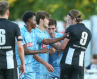 Bolton Wanderers' Liam Collings tries to calm Atherton Collieries' Adam Farrell down<br /> <br /> Photographer Alex Dodd/CameraSport<br /> <br /> Football Pre-Season Friendly - Atherton Collieries v Bolton Wanderers - Tuesday 10th July 2018 - Alder House - Atherton<br /> <br /> World Copyright &copy; 2018 CameraSport. All rights reserved. 43 Linden Ave. Countesthorpe. Leicester. England. LE8 5PG - Tel: +44 (0) 116 277 4147 - admin@camerasport.com - www.camerasport.com