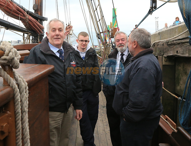 Noel Philips and TJ Caffrey with Clieve Vaughan First Mate of the RUTH at the Tall Ships on the North Quay part of the Drogheda Fringe and Maritime Festival..Picture:  www.newsfile.ie ..