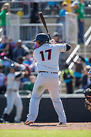 Yermin Mercedes (17) of the Delmarva Shorebirds at bat against the Kannapolis Intimidators at Kannapolis Intimidators Stadium on April 13, 2016 in Kannapolis, North Carolina.  The Intimidators defeated the Shorebirds 8-7.  (Brian Westerholt/Four Seam Images)