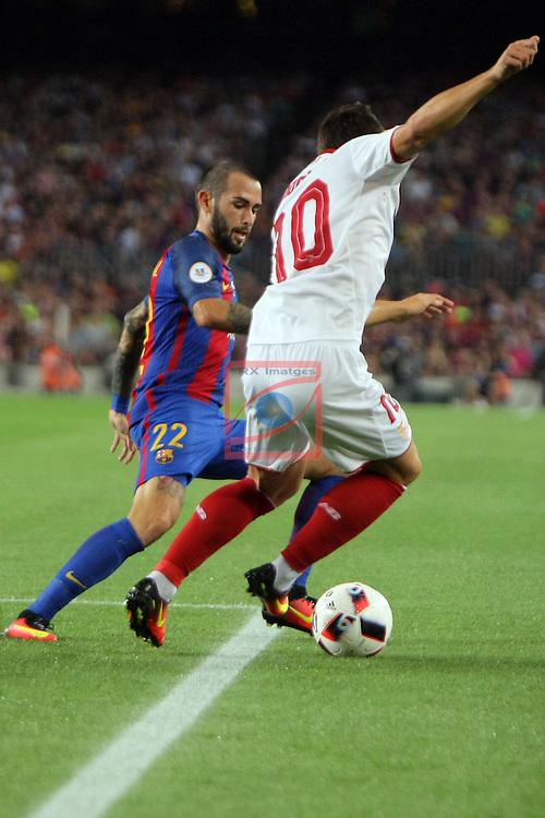 League Santander 2016/2017.<br /> Supercopa de Espa&ntilde;a - Vuelta.<br /> FC Barcelona vs Sevilla FC: 3-0.<br /> Aleix Vidal vs Konoplyanka.