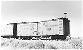 Side view of D&amp;RGW short reefer #74 at Alamosa.<br /> D&amp;RGW  Alamosa, CO  Taken by Maxwell, John W. - 7/7/1956