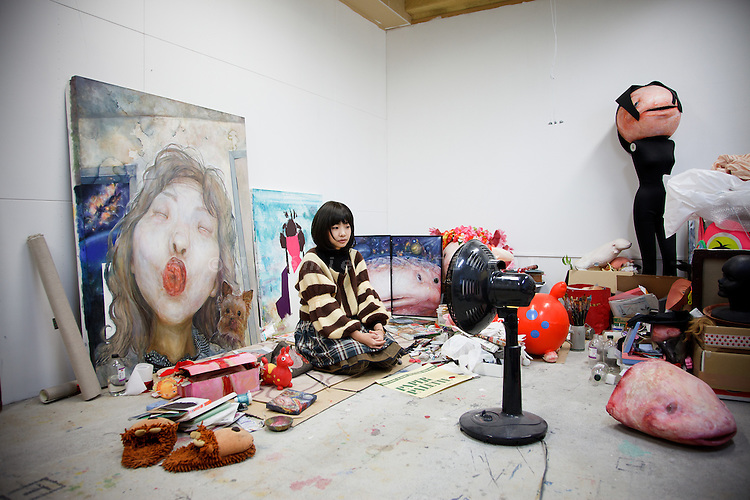 Tokyo, December 10 2010 - In the studio of the young Japanese painter Erina Matsui, in the city of Kokobunji. Portrait of Erina Matsui.
