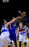 Bronson Beri fouls LJ Peak during the national basketball league match between Wellington Saints and Nelson Giants at TSB Bank Arena in Wellington, New Zealand on Thursday, 26 July 2018. Photo: Dave Lintott / lintottphoto.co.nz