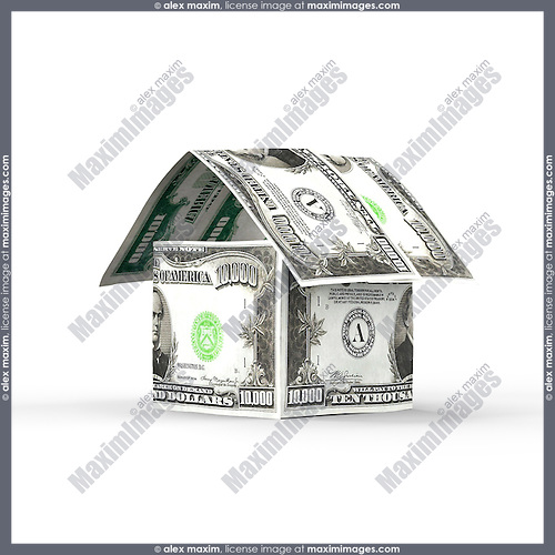 House made of money, ten thousand US dollar bills isolated on white background. Housing, property, mortgage, renovation concept.