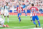 Atletico de Madrid's player Antoine Griezmann and Kevin Gameiro and Deportivo de la Coruña's player Fernando Navarro and Alejandro Arribas during a match of La Liga Santander at Vicente Calderon Stadium in Madrid. September 25, Spain. 2016. (ALTERPHOTOS/BorjaB.Hojas)