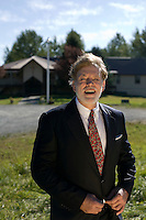 David Ernest Duke stands outside of America's Promise Ministries in Sandpiont, ID on September 4, 2010. Duke is an American white nationalist and former Grand Wizard of the Knights of the Klu Klux Klan. He speaks in favor of voluntary racial segregation and white separatism.  He is currently touring the country discussing 'White Civil Rights'. ..
