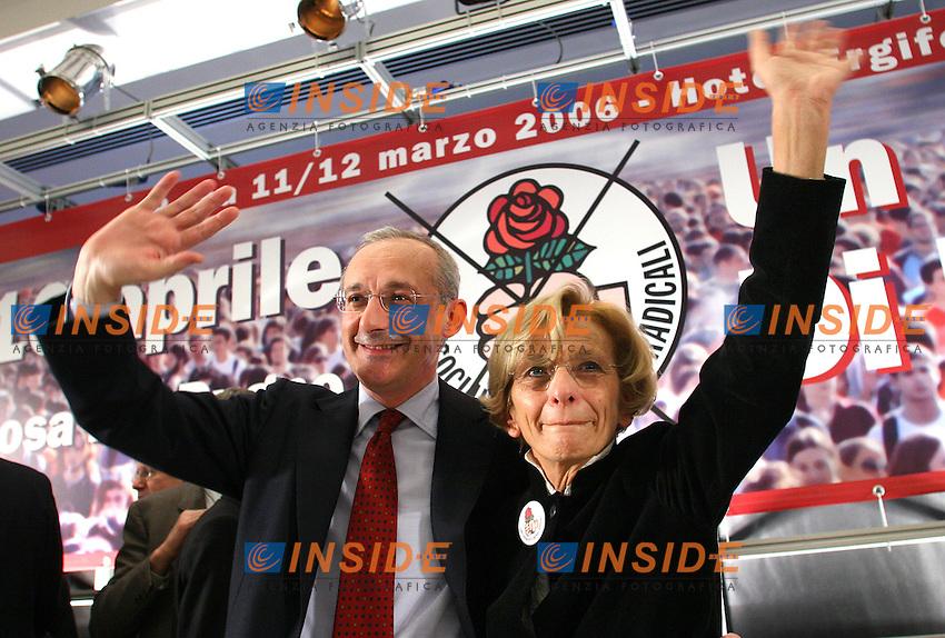 Roma, 12/03/06 Manifestazione nazionale di apertura della campagna elettorale della Rosa nel Pugno. Nella foto Enrico Boselli ed Emma Bonino.<br /> Photo Samantha Zucchi Insidefoto