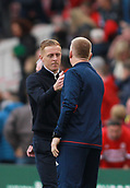 30th September 2017, Riverside Stadium, Middlesbrough, England; EFL Championship football, Middlesbrough versus Brentford; Garry Monk the Middlesbrough Manager and Dean Smith Manager of Brentford shake hands after the 2-2 draw
