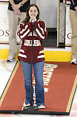 BC band member uses her voice instead of her instrument for the anthem. - The Boston College Eagles defeated the visiting Dartmouth College Big Green 6-3 (EN) on Saturday, November 24, 2012, at Kelley Rink in Conte Forum in Chestnut Hill, Massachusetts.