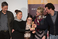 "Movie director Ildiko Enyedi (C) of Hungary and members of the cast attend the press conference of their new Golden Bear winning movie ""On Body and Soul"" in Budapest, Hungary on February 21, 2017. ATTILA VOLGYI"